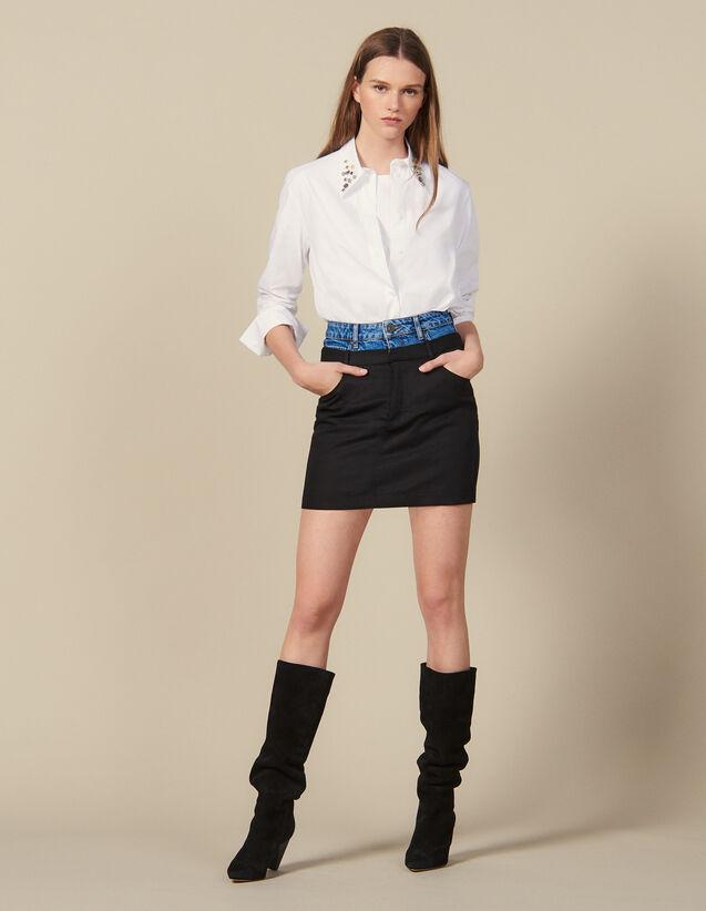 Jupe courte effet trompe l œil : Jupes & Shorts couleur Noir