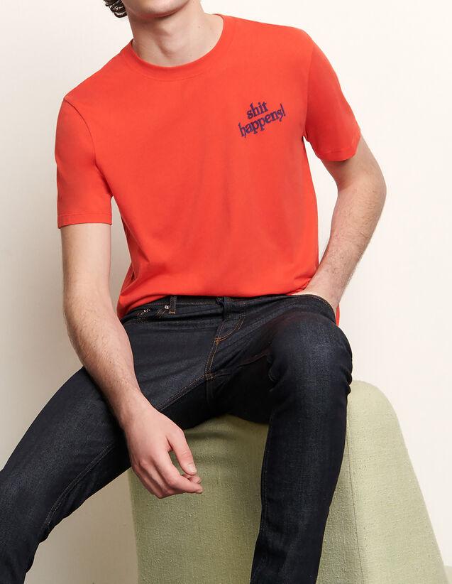 T-shirt en coton à message : T-shirts & Polos couleur Rouge