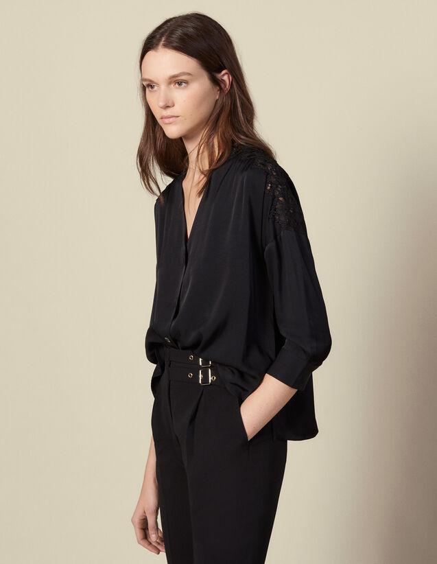Blusa con inserto in guipure : Top & Camicie colore Nero