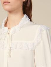Camicia ornata di pizzo : FBlackFriday-FR-FSelection-Tops&Chemises colore Ecru