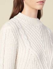 Pullover in lana a maglia grossa : SOLDES-DE-FSelection-PAP&ACCESS colore Ecru