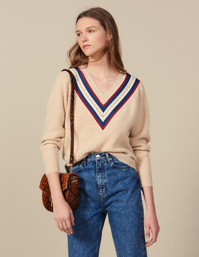 Pull À Encolure En V Ornée D'Un Galon : Pulls & Cardigans couleur Beige