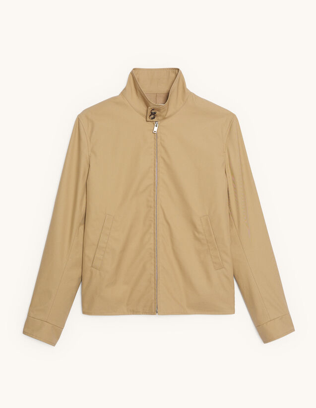 Blouson zippé en coton : Blousons & Vestes couleur Beige