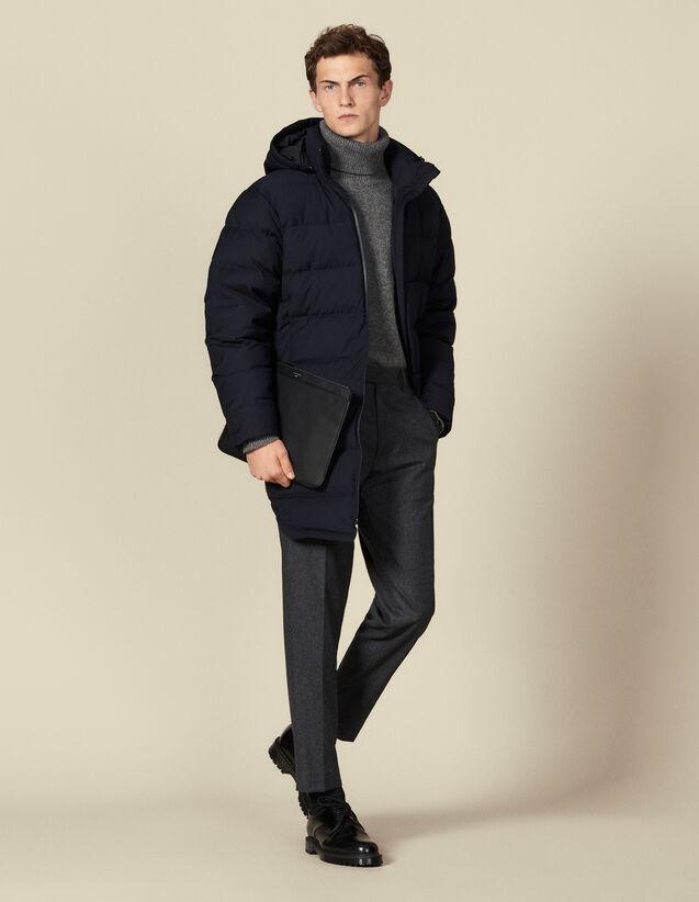 Piumino lungo con cappuccio : Trench & Cappotti colore Blu Marino
