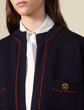 Cardigan-cappotto con fodera stampata : LastChance-ES-F40 colore Blu Marino