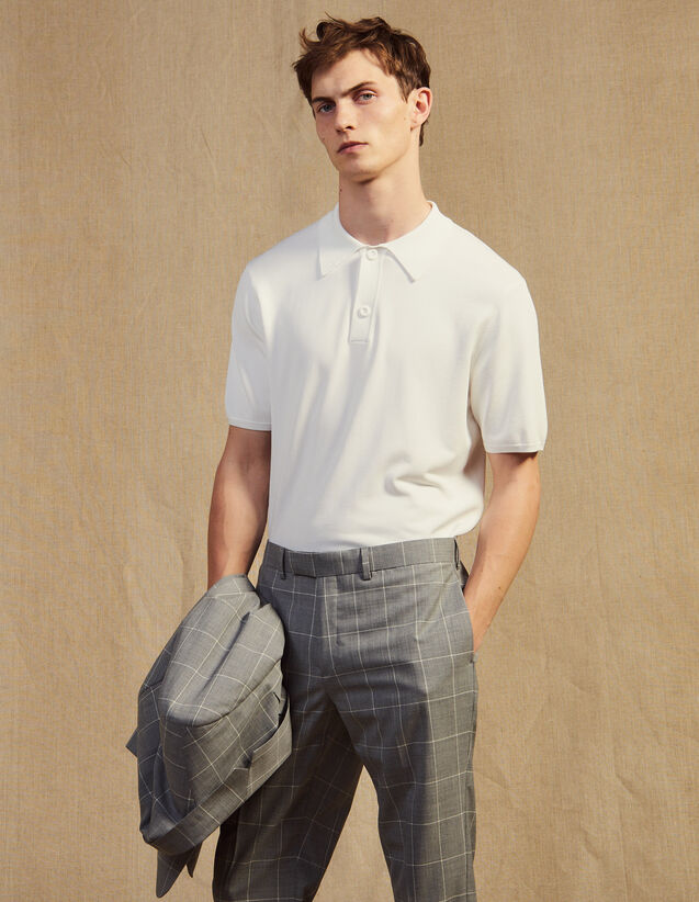 Polo In Maglia Sottile A Maniche Corte : Magliette & Polo colore Ecru