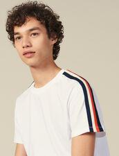 T-Shirt À Rayures Aux Manches : HCollectionHiver couleur Blanc