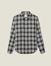 Camicia A Quadri Fluida : -50% colore Blu Marino