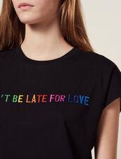 T-Shirt Con Scritta Ricamata In Cotone : null colore Nero
