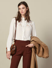 Blusa ornata con un inserto in guipure : LastChance-ES-F40 colore Ecru