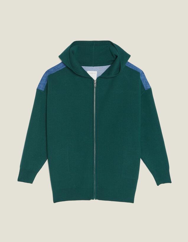 Cardigan Con Cappuccio Bimateriale : null colore Verde