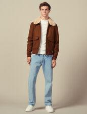 Blouson aviateur col mouton : Blousons & Vestes couleur Camel