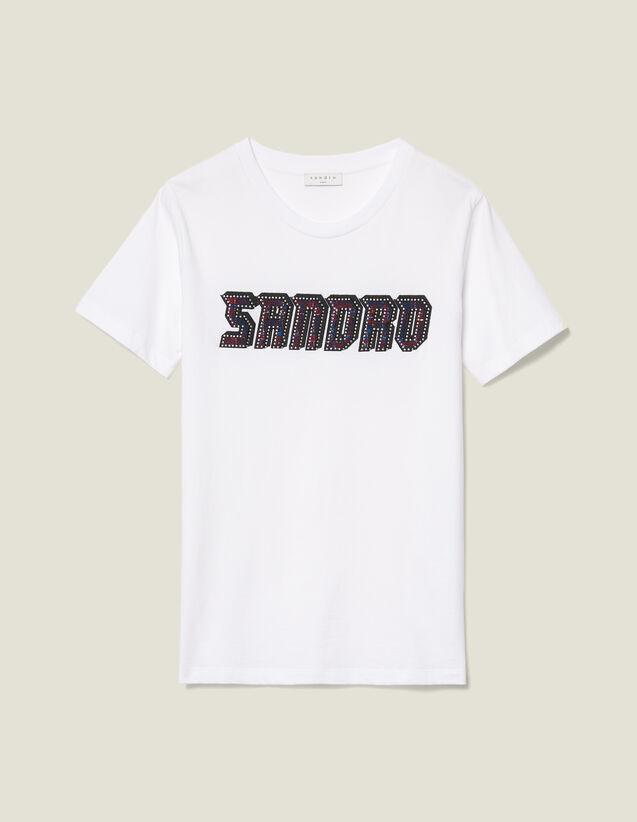 T-shirt à inscription en tweed : LastChance-ES-F40 couleur blanc