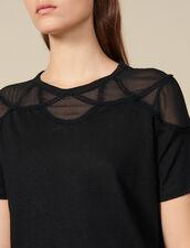 T-shirt con inserto trasparente : Magliette colore Nero
