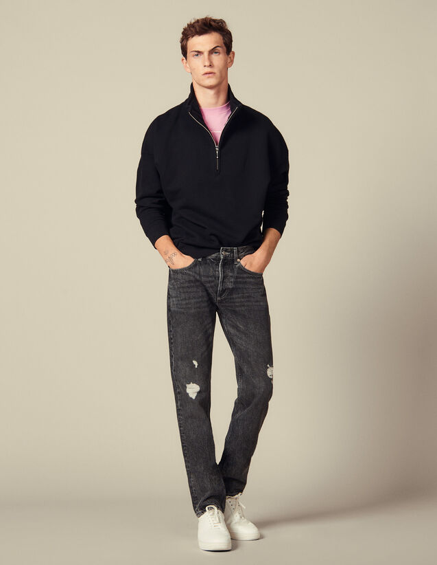 Jeans Slim Délavé Stretch : Jeans colore Black - Denim