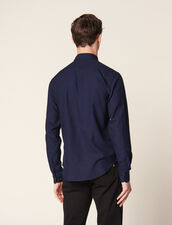 Camicia In Tessuto Chevron Tono Su Tono : Camicie colore Blu Marino