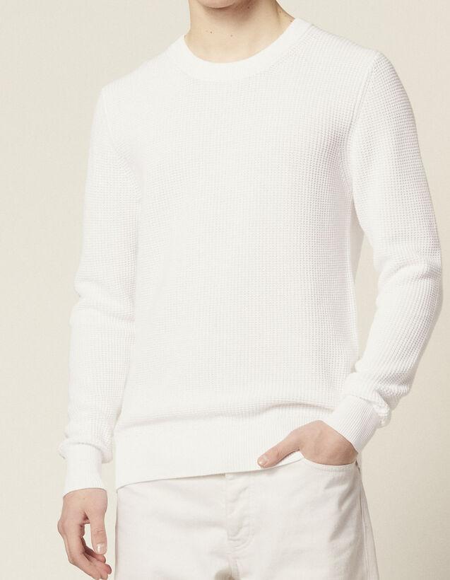 Pullover Con Maglia In Rilievo In Cotone : Sélection Last Chance colore Bianco
