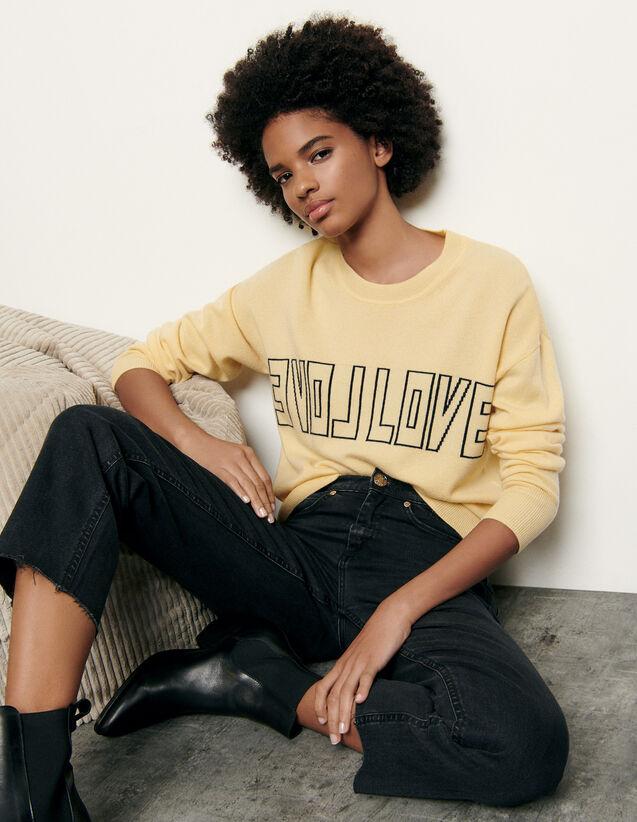 Pullover in lana e cashmere con scritta : Maglieria & Cardigan colore Giallo