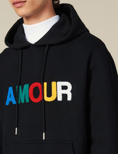 Felpa Con Cappuccio E Applicazione Amour : -30% colore Nero