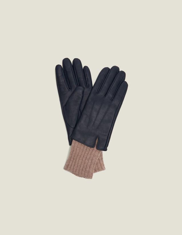 Gants En Cuir  Avec Poignets En Maille : Gants & Bonnets couleur Marron foncé