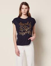 T-Shirt En Coton Avec Inscriptions : null couleur Marine