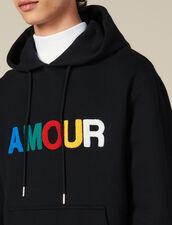 Felpa Con Cappuccio E Applicazione Amour : Felpe colore Nero
