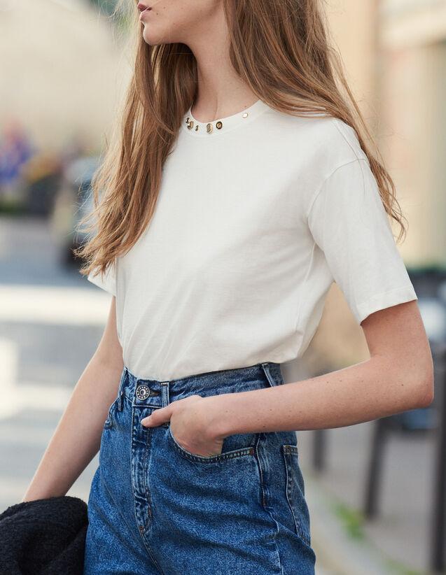 T-Shirt Con Collo Ornato Da Borchie : Magliette colore Ecru