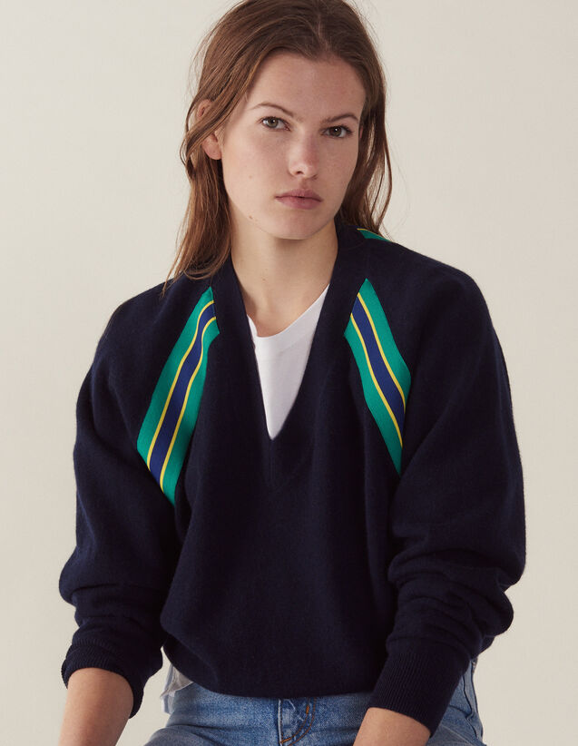 Pull Manches Longues Avec Galons : null couleur Marine