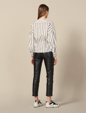 Camicia Sciancrata In Popeline A Righe : Top & Camicie colore Bianco