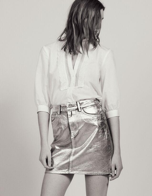 Gonna In Jeans Rivestimento Argentato : Gonne & Short colore Argento