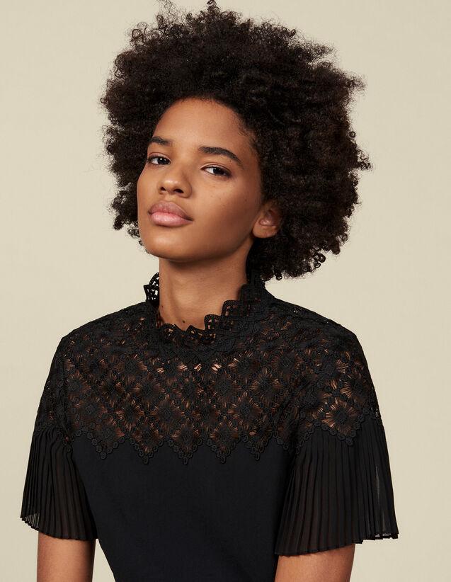 Top dotato di un inserto in guipure : Top & Camicie colore Nero