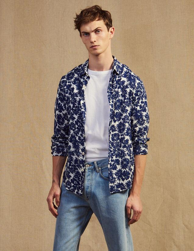 Camicia Fluida Con Stampa Floreale : Camicie colore Blu Marino