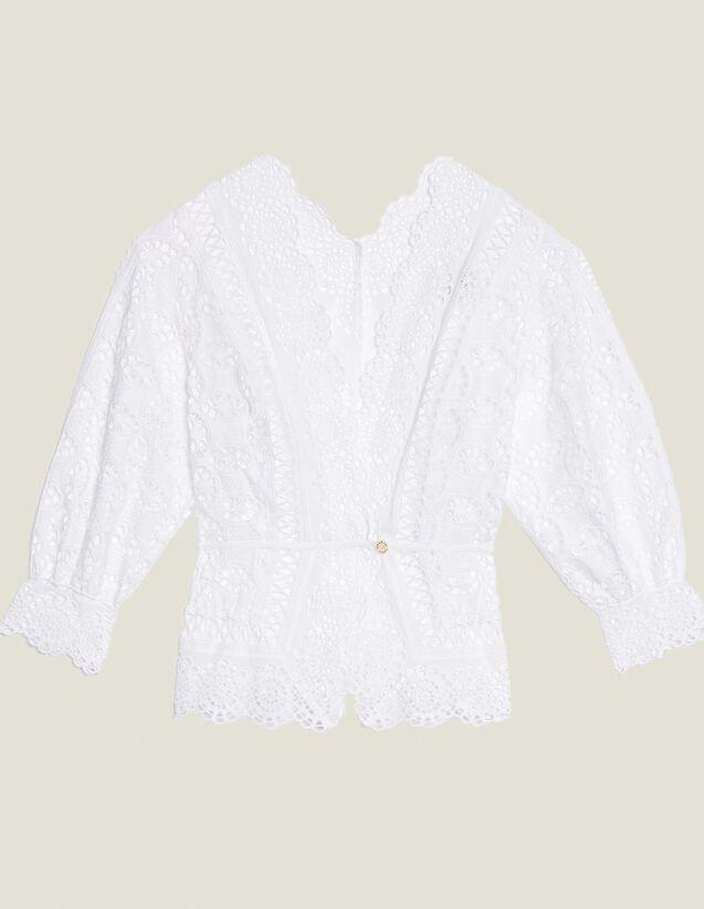 Camicia In Pizzo Con Maniche 3/4 : null colore Bianco