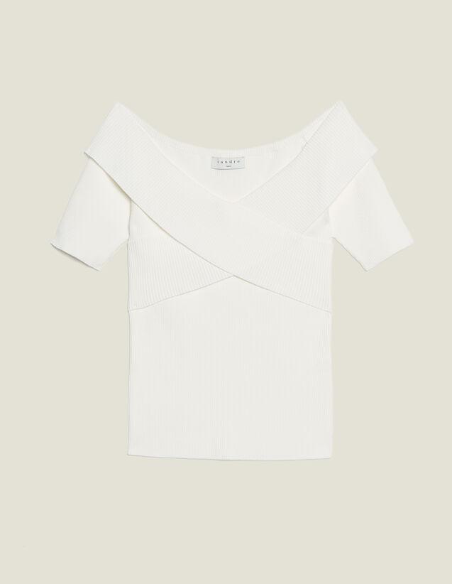 Top In Maglia Con Scollo Incrociato : Camicia a maniche corte colore Bianco