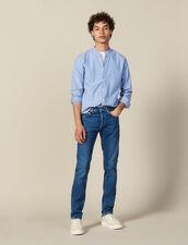 Camicia A Righe Con Collo Alla Coreana : Collezione Invernale colore Blu/bianco
