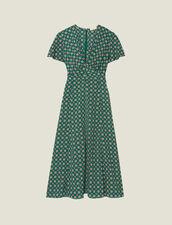 Robe Fluide Imprimée À Manches Courtes : FAnciennesCollections couleur Vert
