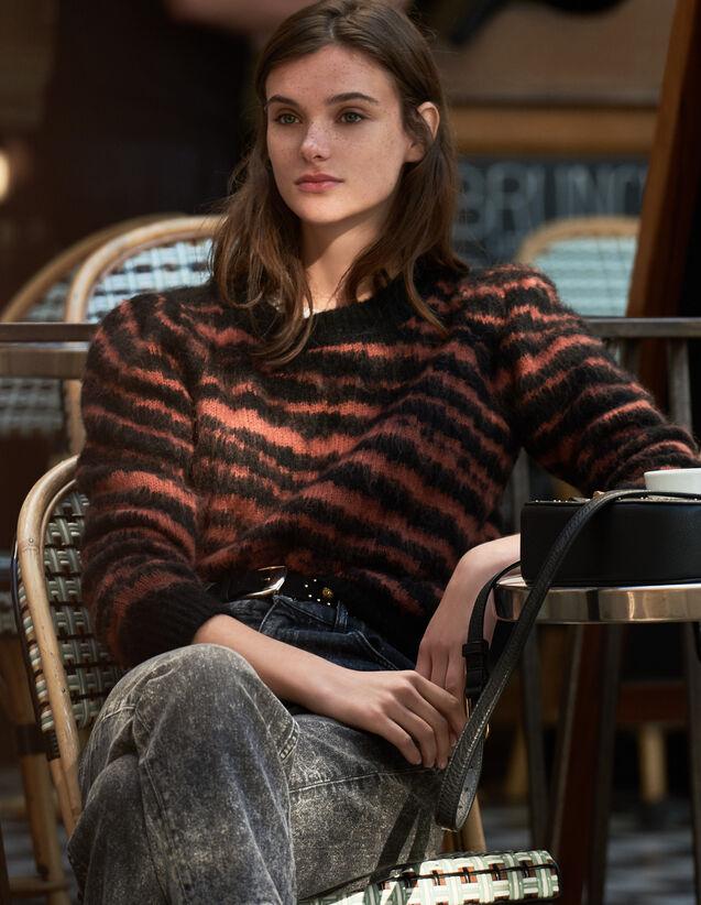 Pullover Peloso In Jacquard Zebrato : LastChance-ES-F50 colore Noir / Acajou