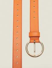 Cintura In Pelle : null colore Arancio