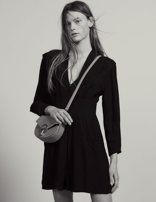 Robe Courte Fluide Ornée De Plis : null couleur Noir