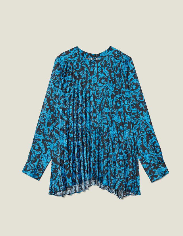 Top fluido plissettato con stampa : Top & Camicie colore Blu