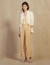 Pantaloni Larghi Con Pince : null colore Beige