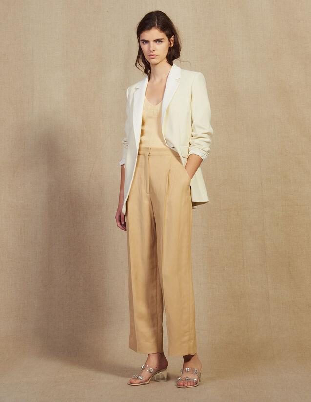 Pantalon Large À Pinces : null couleur Beige