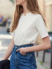T-shirt con collo ornato da borchie : LastChance-ES-F50 colore Ecru