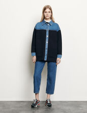Cardigan bimateriale stile giacca : Maglieria & Cardigan colore Deep Navy