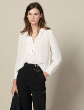 Top In Seta Con Collo Plissettato : Top & Camicie colore Ecru