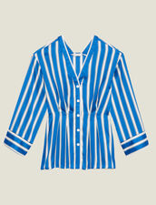 Camicia A Righe Con Bottoni A Pressione : null colore Blu