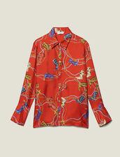 Camicia Stampata In Twill Di Seta : Top & Camicie colore Rosso