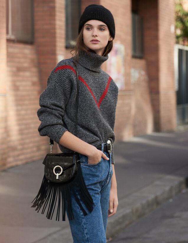 Pull À Col Roulé En Maille Chinée : Pulls & Cardigans couleur Gris