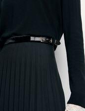Gonna lunga plissettata a portafoglio : Gonne & Short colore Nero