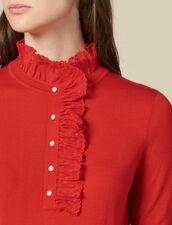 Pullover Con Tulle Sul Collo : Maglieria & Cardigan colore Rosso